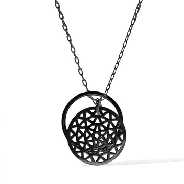 Dandelion and Ring of Fire Pendant -  Black
