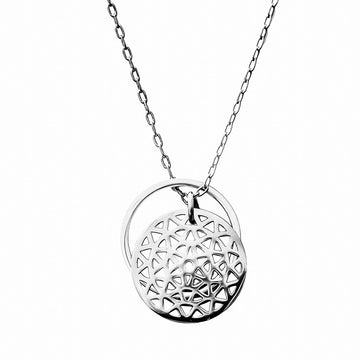 Dandelion and Ring of Fire Pendant -  Rhodium