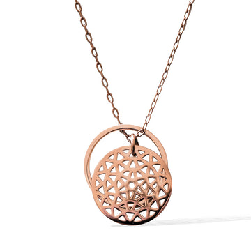 Dandelion and Ring of Fire Pendant -  Rose Gold