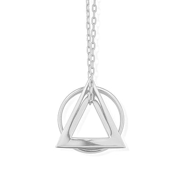 Deltaglyph and Ring of Fire Pendant -  Rhodium