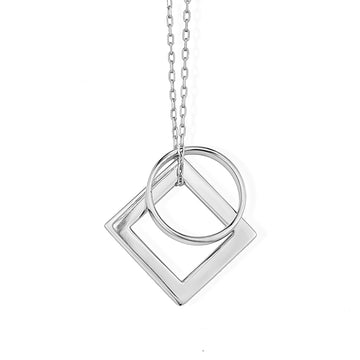 Diamond and Ring of Fire Pendant - Rhodium