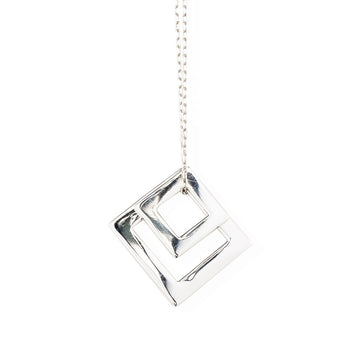 Double Diamond Pendant Rhodium