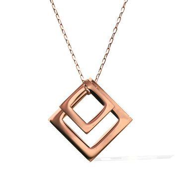 DOUBLE DIAMOND PENDANT - Rose Gold