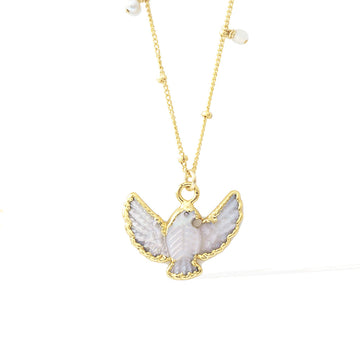 Dove Necklace - Gold and  Mother of Pearl