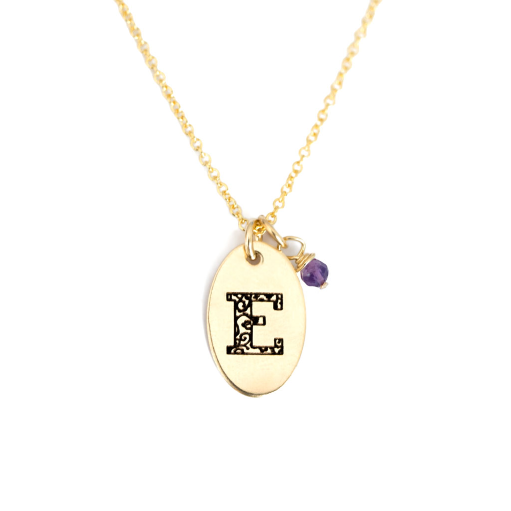 E - Birthstone Love Letters Necklace Gold and Amethyst