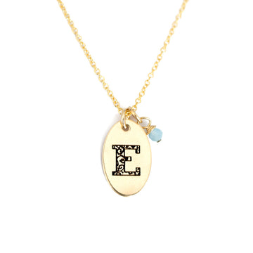 E - Birthstone Love Letters Necklace Gold and Aquamarine