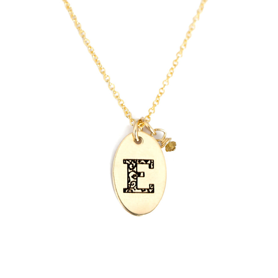 E - Birthstone Love Letters Necklace Gold and Citrine