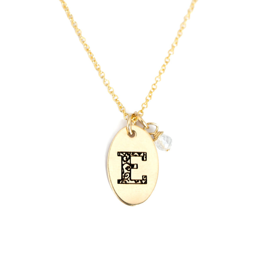 E - Birthstone Love Letters Necklace Gold and Clear Quartz