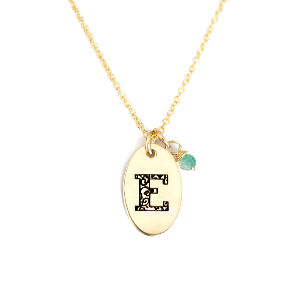 E - Birthstone Love Letters Necklace Gold and Emerald