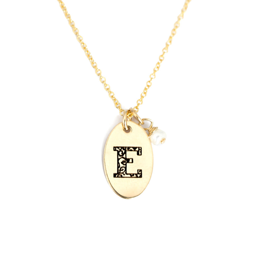 E - Birthstone Love Letters Necklace Gold and Pearl