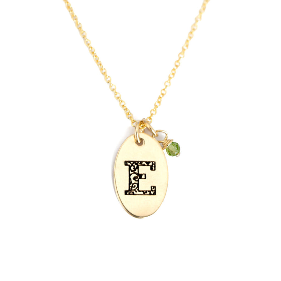 E - Birthstone Love Letters Necklace Gold and Peridot