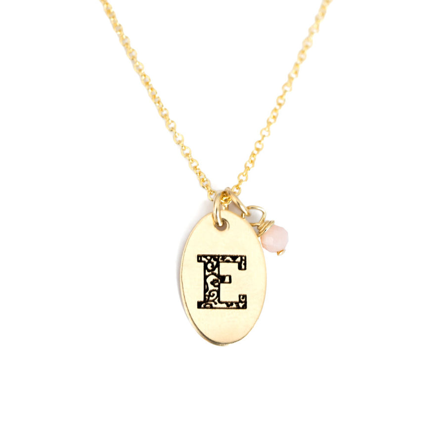 E - Birthstone Love Letters Necklace Gold and Pink Opal
