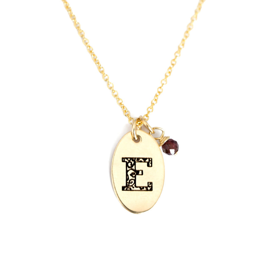 E - Birthstone Love Letters Necklace Gold and Red Garnet