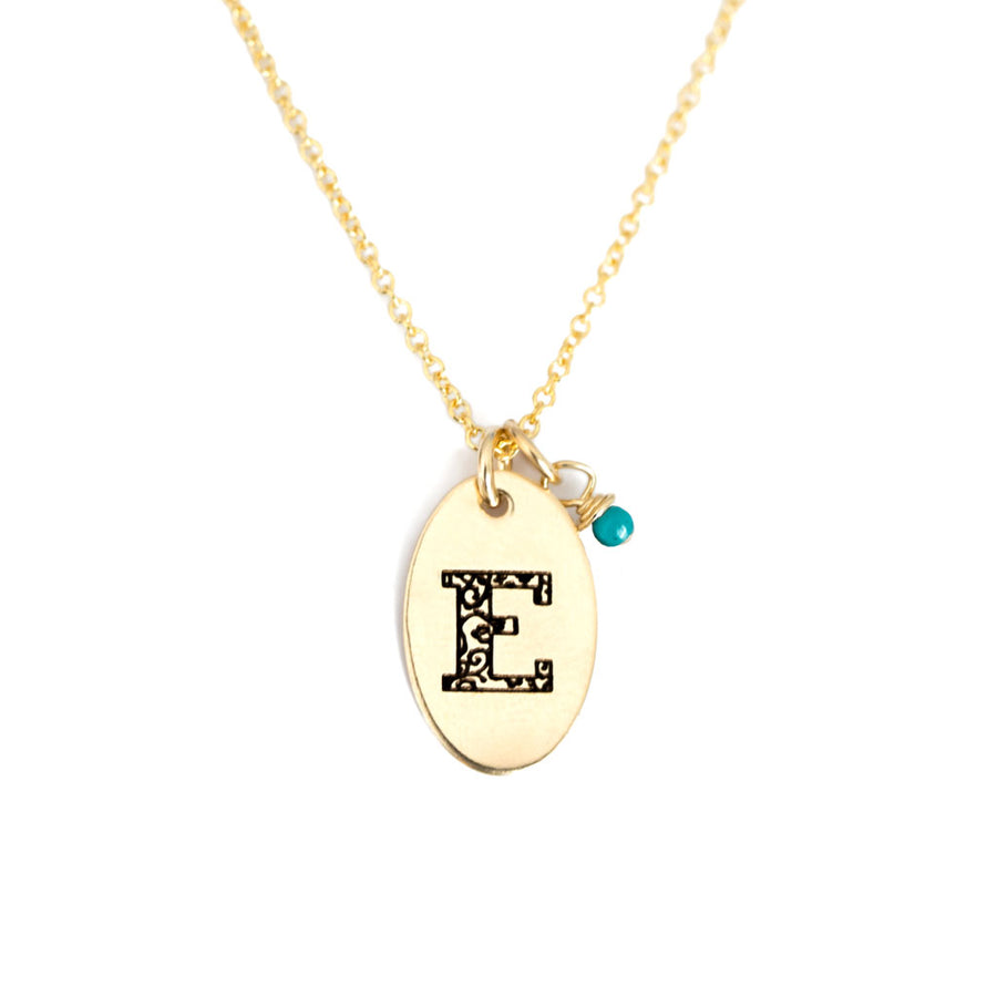 E - Birthstone Love Letters Necklace Gold and Turquoise