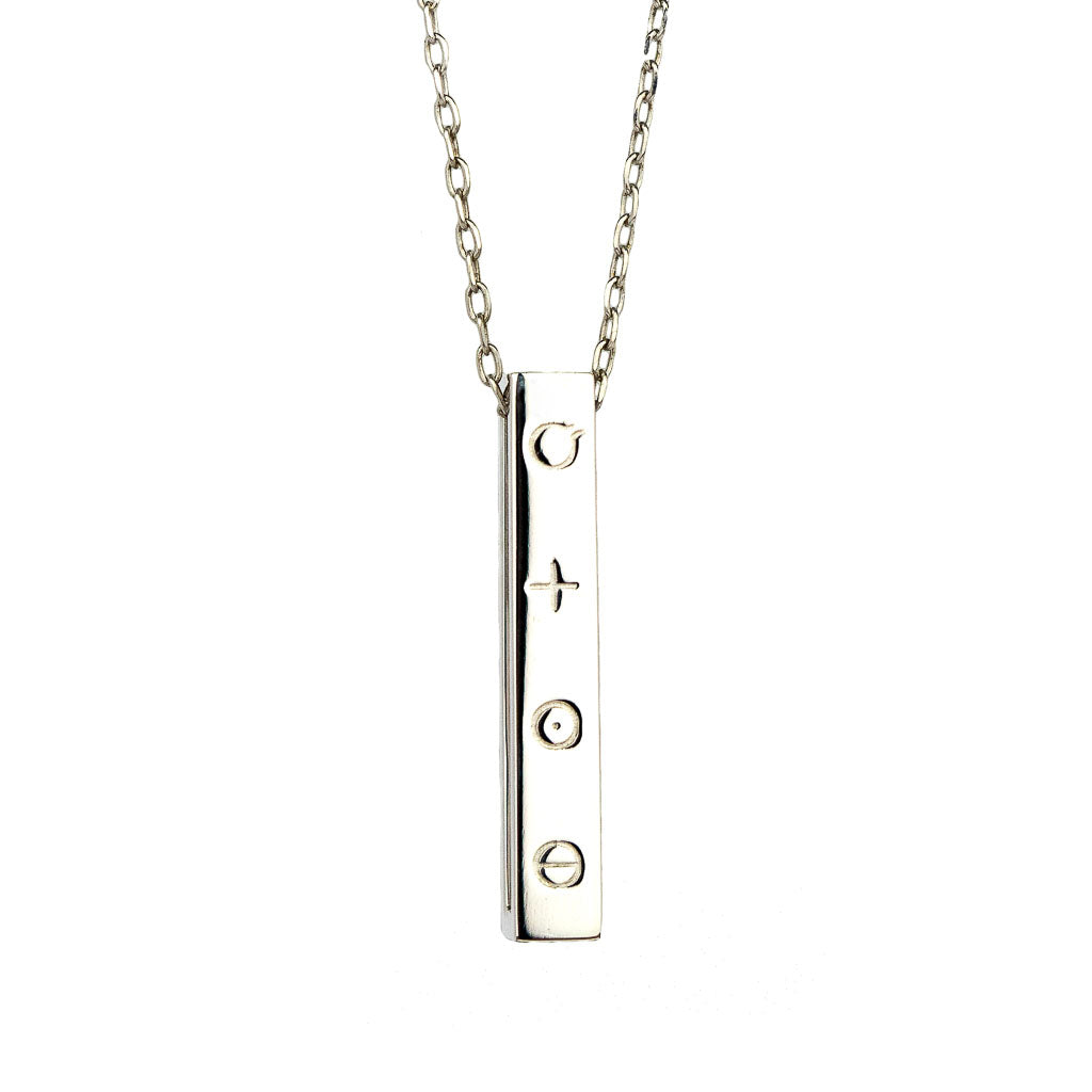 Elements Bar Pendant Rhodium front
