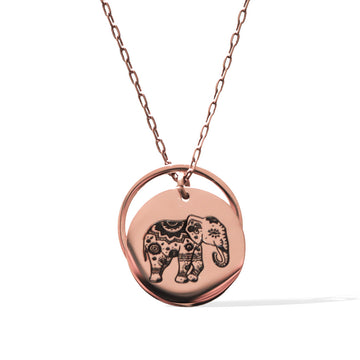 Enchanted Elephant and Ring of Fire Pendant -  Rose Gold