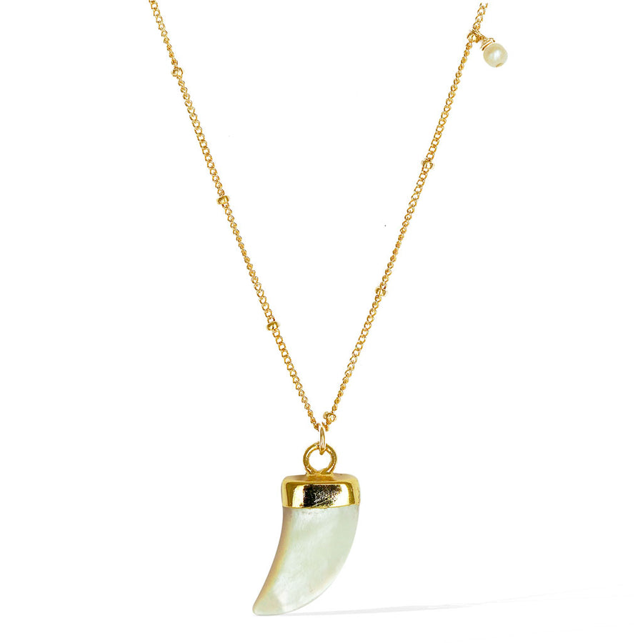 Enchantment Tusk Necklace - Gold and  Mother of Pearl