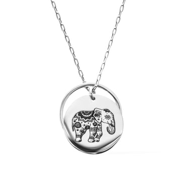 Enchanted Elephant and Ring of Fire Pendant -  Rhodium
