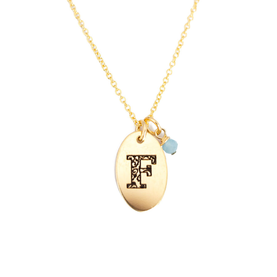 F - Birthstone Love Letters Necklace-Gold-and-Aquamarine