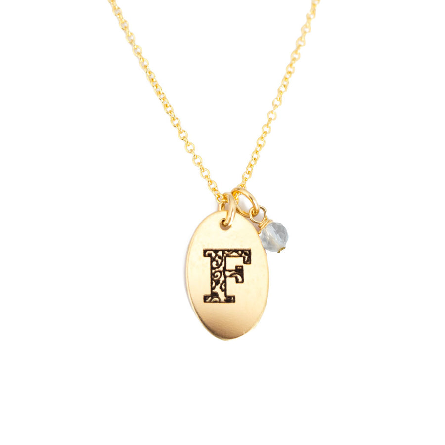 F - Birthstone Love Letters Necklace- Gold and clear quartz