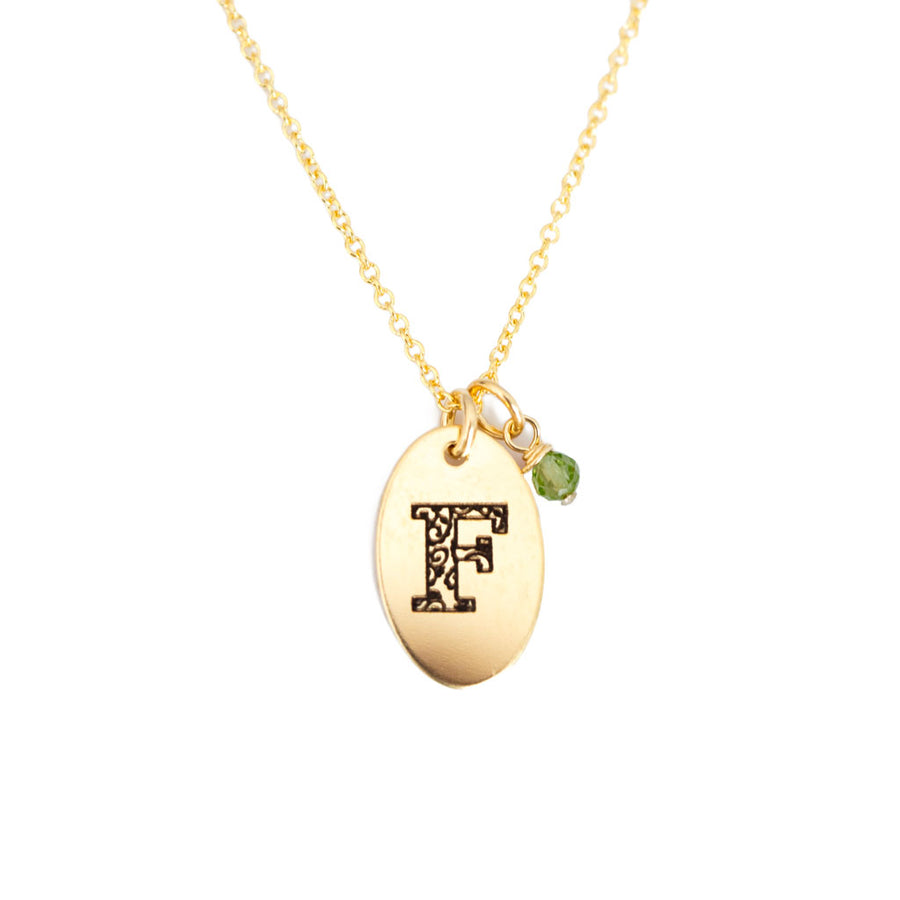 F - Birthstone Love Letters Necklace Gold and Peridot