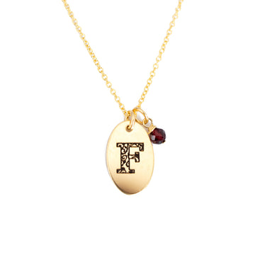 F - Birthstone Love Letters Necklace Gold and Red Garnet