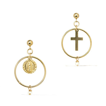 Faith Union Earrings - Gold and Pearl