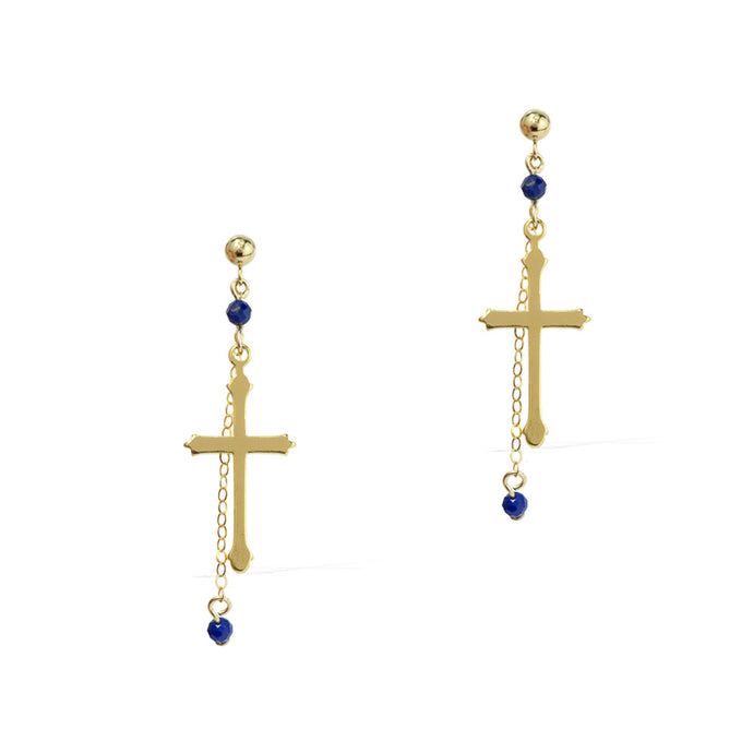 Faith Cross Earrings - Gold and Lapis Lazuli