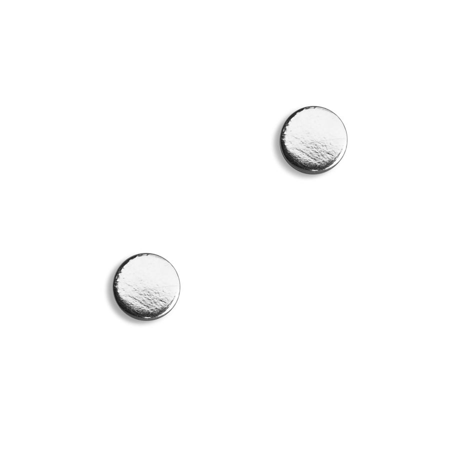 Flat Dot Earrings - silver front view