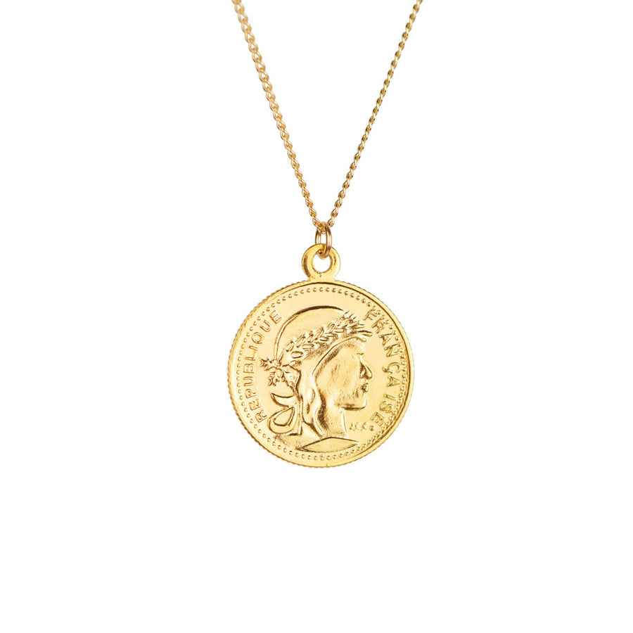 Heirloom Gold Coin Necklace Heads