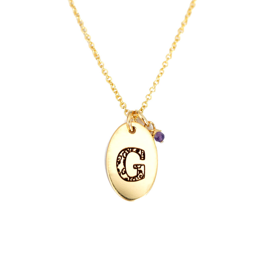 G - Birthstone Love Letters Necklace Gold and Amethyst