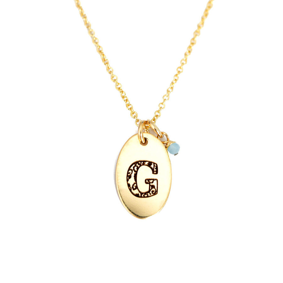 G - Birthstone Love Letters Necklace Gold and Aquamarine