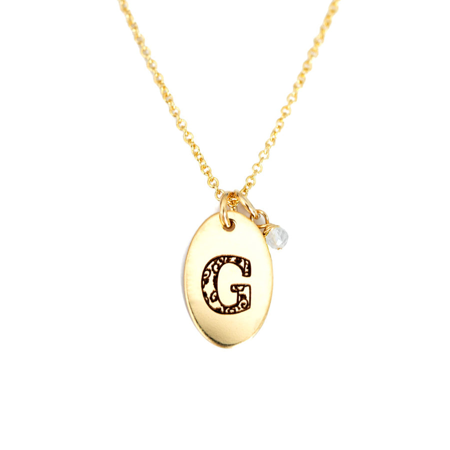 G - Birthstone Love Letters Necklace Gold and Clear Quartz