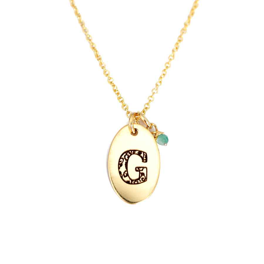 G - Birthstone Love Letters Necklace Gold and Emerald