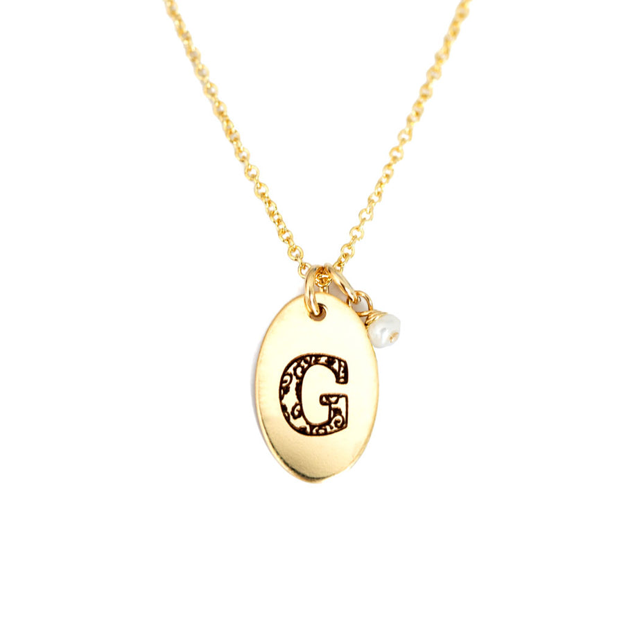G - Birthstone Love Letters Necklace Gold and Pearl