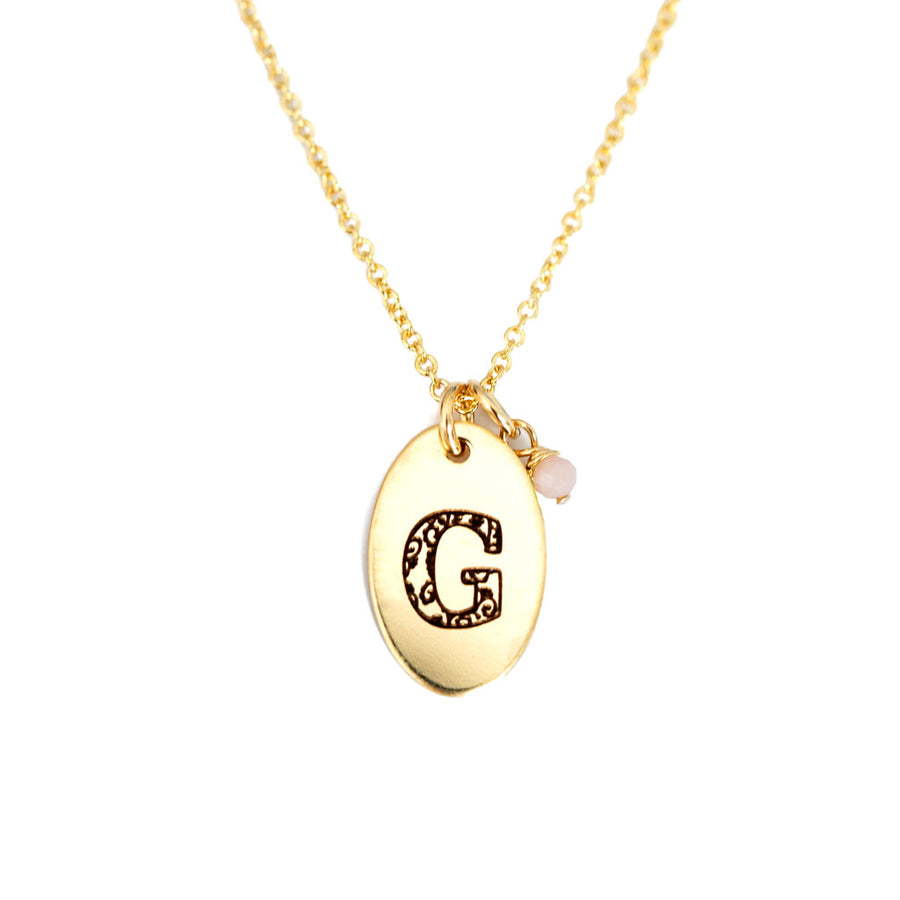 G - Birthstone Love Letters Necklace Gold and Pink Opal
