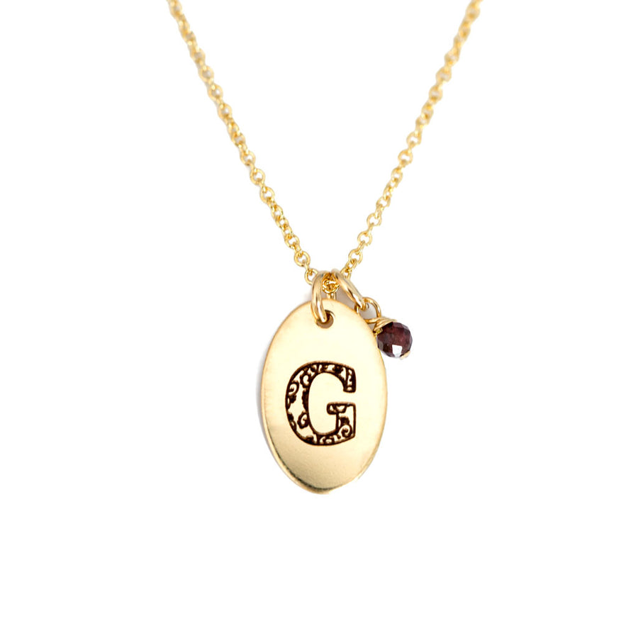 G - Birthstone Love Letters Necklace Gold and Red Garnet