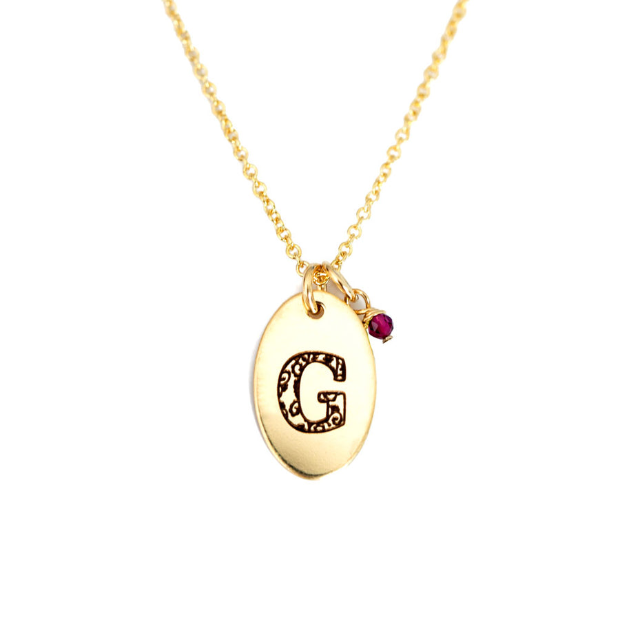 G - Birthstone Love Letters Necklace Gold and Ruby