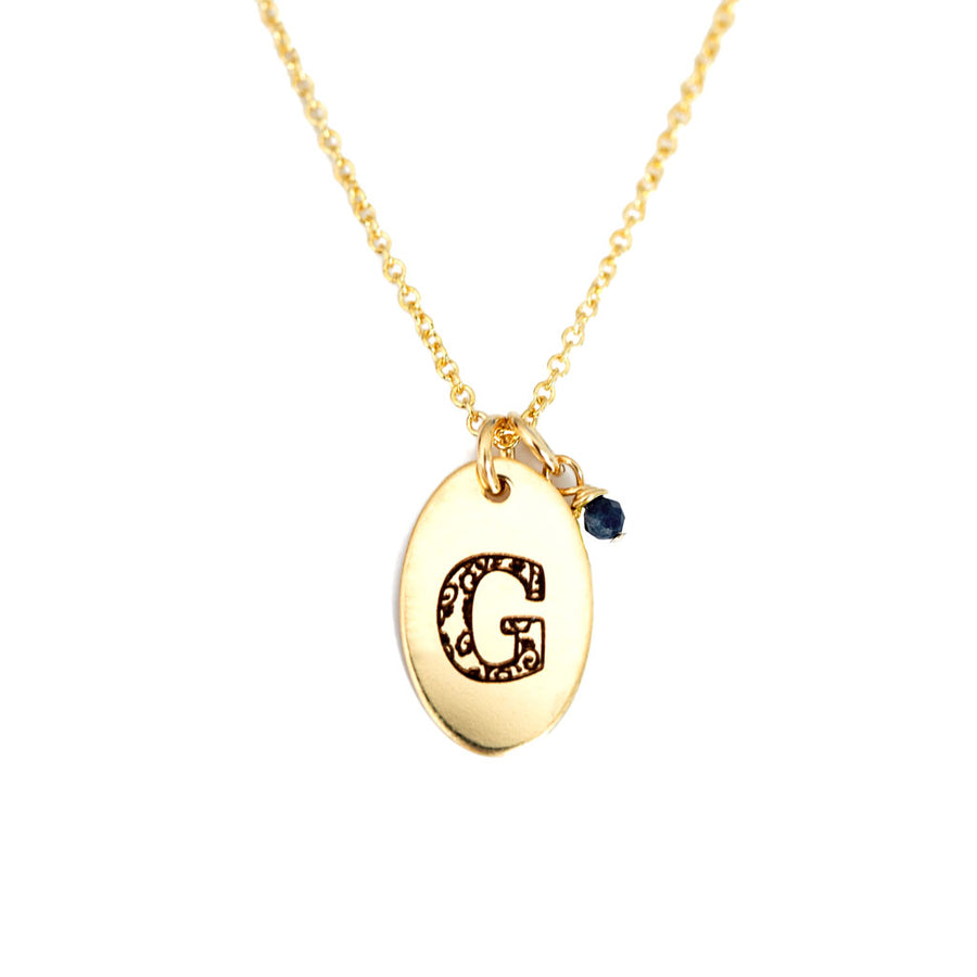 G - Birthstone Love Letters Necklace Gold and Sapphire