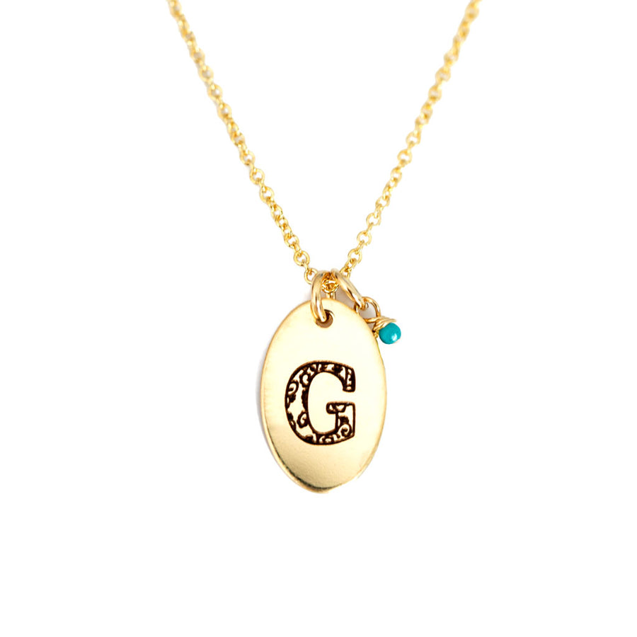 G - Birthstone Love Letters Necklace Gold and Turquoise