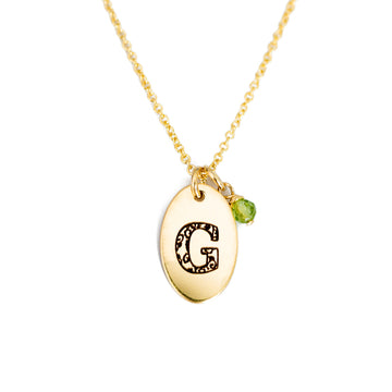 G - Birthstone Love Letters Necklace Gold and Peridot