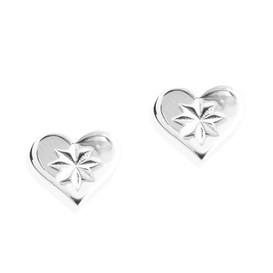 HEARTBEAT STUD EARRINGS -  Sterling Silver