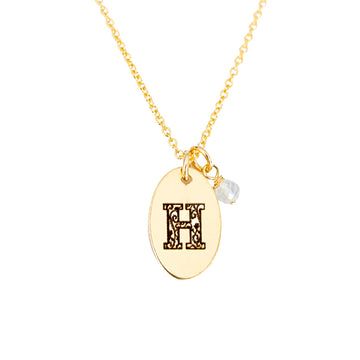 H - Birthstone Love Letters Necklace Gold and Clear Quartz