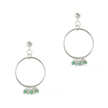 Halo Constellation Earrings - Silver and Amazonite