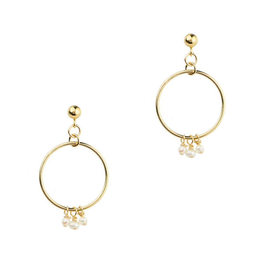 Halo Constellation Earrings Gold and Pearl