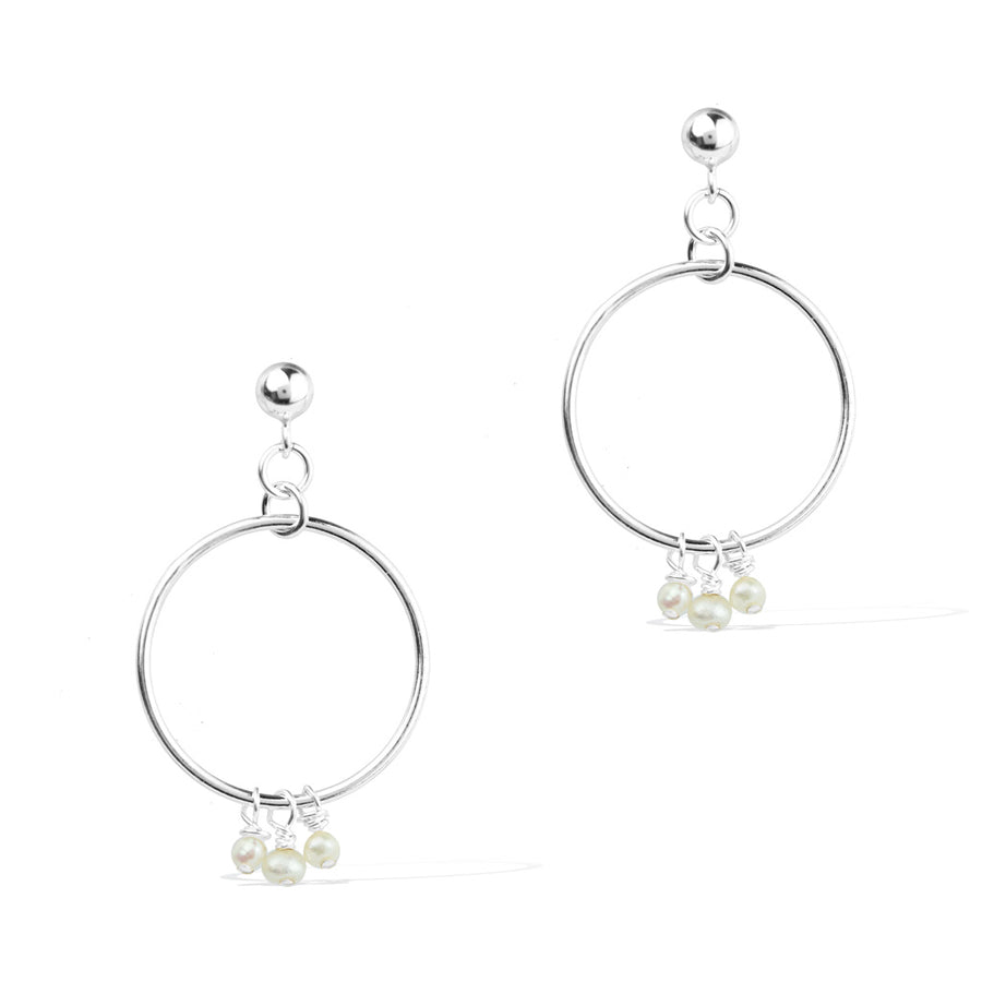 Halo Constellation Earrings - Silver and Pearl