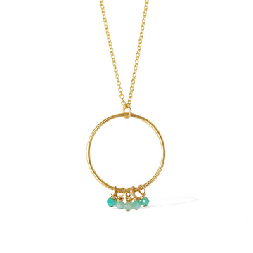 Halo Constellation Necklace - Gold and Amazonite