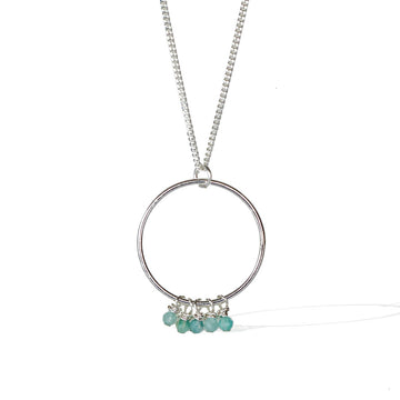 Halo Constellation Necklace - Silver and Amazonite