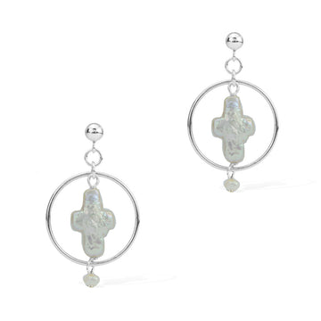 Halo Cross Earrings - Silver and Pearl