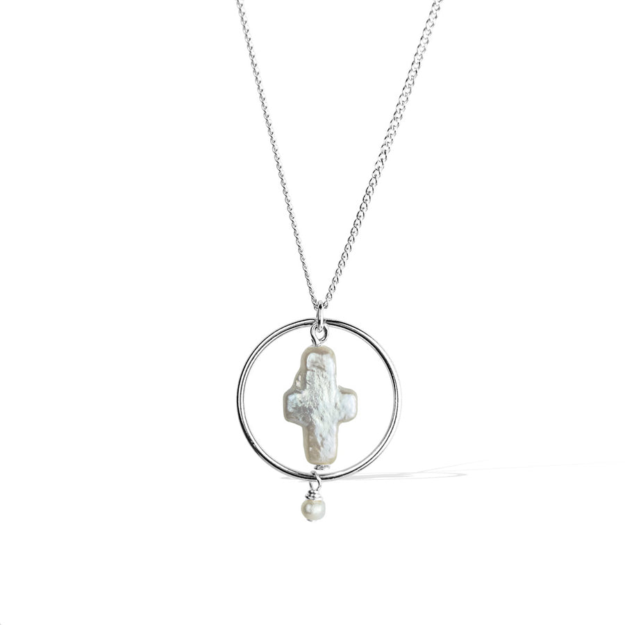Halo Constellation Necklace - Silver and Pearl
